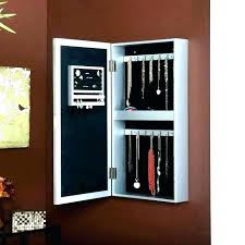 hanging mirror jewelry wall mount articles with black cabinet door box dresser organizer the mounted lighted