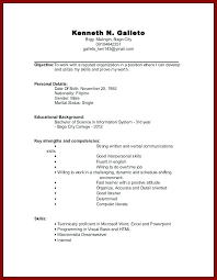 resume examples for college students with no work experience sample resume  no work experience college student