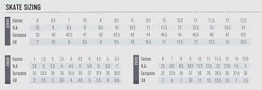 Ice Hockey Skate Sizing Chart Nike Bauer Vapor Ice Hockey