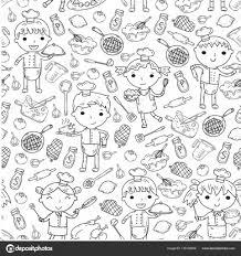 Cute Kids Chef Op Witte Achtergrond Kinderen Koken Keuken Kinderen