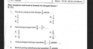 Kunci jawaban mata pelajaran :matematika kelas vi semester i. Soal Ulangan Matematika Kelas 4 Semester 1 K 13 Sekolahdasar Net