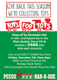 pecos pit teams up with kiro 7 cares toy drive for toys for tots