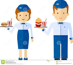 cartoon fast food server stock photos images pictures images a fast food employee delivering a drink and food cartoon flat v royalty stock