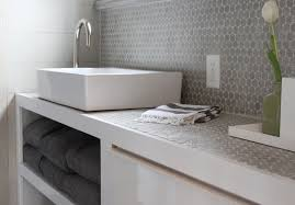 gray penny tile backsplash