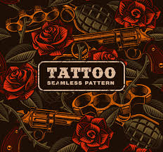 Weapon With Roses Tattoo Seamless Pattern Download Free Vector