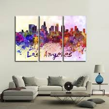 los angeles watercolor skyline multi panel canvas wall art on wall art stores los angeles with los angeles watercolor skyline multi panel canvas wall art