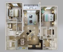 Small 2 Bedroom House Floor Plans 50 3d Floor Plans Lay Out Designs For 2 Bedroom House Or Apartment