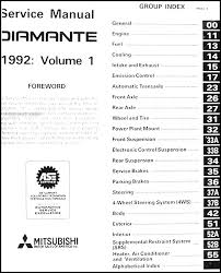 1992 mitsubishi diamante repair shop manual original covers all 1992 mitsubishi diamante models including sedan and ls this book is in new condition measures 8 5 x 11 and is 1 5 thick