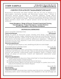 Construction Resume Good Resume Format