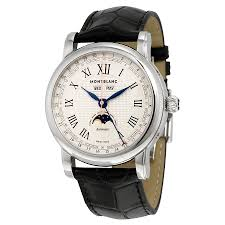 montblanc star silver dial moon phase automatic men s watch 113645