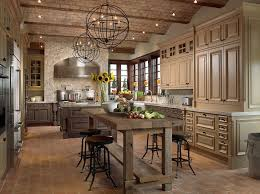 traditional kitchen design with track lighting and black chandelier also brick ceiling decor