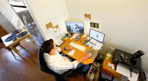 sales working home office. With His Kitchen Right Beside Him, Walker Thompson Works From Home Office In Which He Is Vice President Of Sales And Marketing For WhenToManage Working