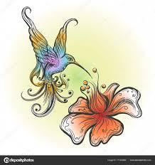 полет колибри в стиле тату векторное изображение Gertot1967