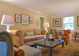 Cozy Living Room With Light Orange Tone Painted Walls