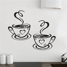 coffee cup wall stickers living room wall decorations home decal