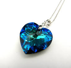 swarovski bermuda blue heart crystal pendant necklace free us