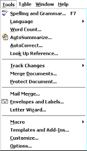 microsoft word menus using tools window and help menu items in microsoft word