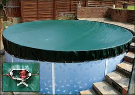 above ground swimming pool winter debris covers with ratchet and tie down cord