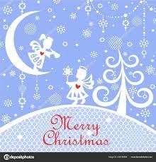 Pastellblau Naive Kindliche Weihnachten Grusskarte Mit