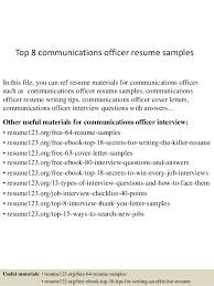 communications resume samples top 8 communications officer resume samples
