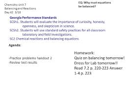 chemistry unit 7 balancing and reactions day 42 3 18 homework quiz on balancing