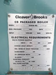 175 hp cleaver brooks boiler model cb700 175s 150 one 1 used cleaver brooks boiler model bc700 175s 175 hp natural gas fired 150 psi 358 sq ft surface area 7 323 000 btu hour input