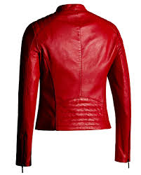 red corbani genuine quilted shoulder scuba leather jacket