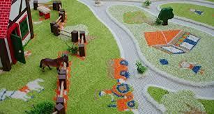 little helper 3d childrens play rug in fun farm design multicoloured 100 x 150