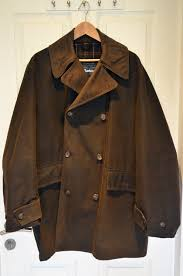 barbour wax reefer a873 jacket large olive green peacoat made in england