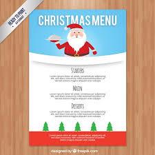 Christmas Menu Template With Santa Claus Vector Premium