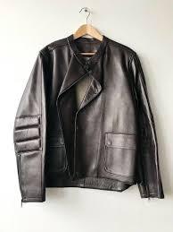 dunhill luxury bonded leather biker jacket