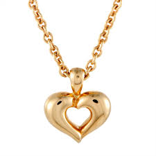 details about van cleef arpels 18k yellow gold heart pendant choker necklace