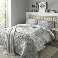fusion alena fern leaf print reversible duvet cover silver grey bedding set