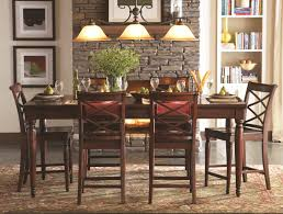aspenhome cambridge 7pc counter height leg dining table set in brown cherry icbdr by dining rooms