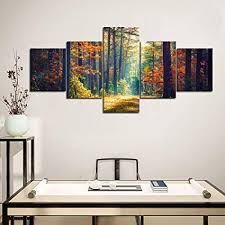 Home office wall art Artwork Yatsen Bridge Canvas Wall Art Forest In Autumn And Landscape Forest Waves Painting Long Canvas Amazoncom Amazoncom Yatsen Bridge Canvas Wall Art Forest In Autumn And