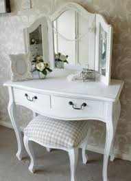... Stunning Queen Anne Vanity Table With Dressing Table Triple Mirror And  Stool Bedroom Furniture Set ...