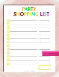 Party List Template Free Printable Party Planning Template