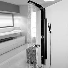 Duschpaneel Schwarz Aluminium Duschsäule Regendusche Massagedüsen Für Brauseanschluss Von Sanlingo