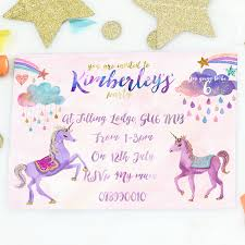 personalised birthday party invites unicorn girl s birthday party invites