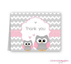Baby Shower Thank You Cards Owl Pink And Grey ChevronOwl Baby Shower Thank You Cards
