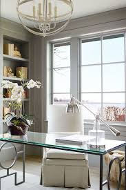 modern glass office desk full. chic home office features a silver sphere chandelier illuminating glasstop desk with geometric modern glass full