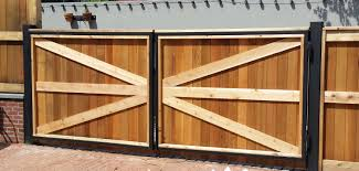 wood fence double gate. Steel And Wood Double Gate Fence |