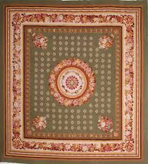 chinese aubusson green square 9 ft and larger wool carpet 74559 aubusson square area rug