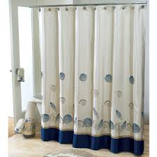 fabric and blue base extra long shower curtain added stainless stell rods also white freestanding tubs in open views modern bathroom decorating designs