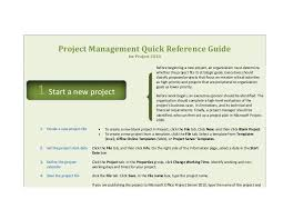 project management quick reference guide quick reference guide for microsoft project 2010