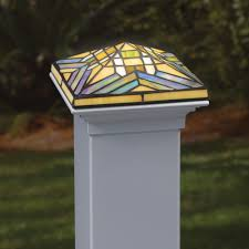 4x4 Wood Post Lights 4x4 Filigreed Glass Solar Post Cap With Cedar Base Leaf In