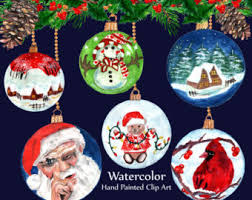 Hand Decorated Christmas Balls Christmas Clip Art Hand Painted Christmas Ornaments Watercolor 78