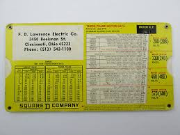 Square D Company Three Phase Motor Data Slide Chart Lawrence