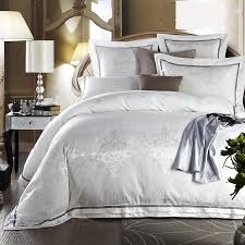 white bed set jacquard silk home textile bedding set luxury 4 6pcs satin doona duvet cover bedclothes bed linens king queen size in bedding sets from home