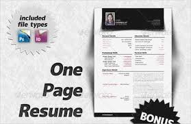 Resume One Page 21 Sample One Page Resume Templates Free Premium Download